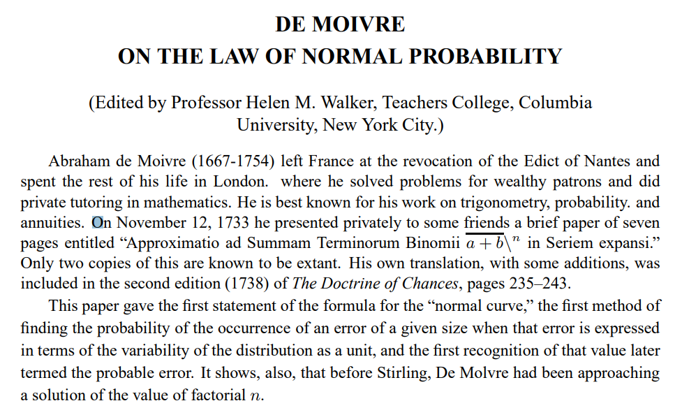 DE MOIVRE ON THE LAW OF NORMAL PROBABILITY