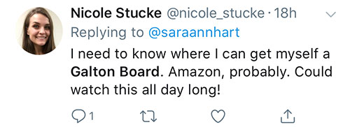 Nicole Stucke Tweet about Galton Board